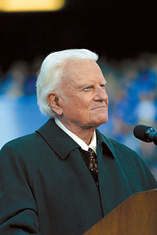 Billy Graham, evangelist.  The face of a man who BELIEVES, but can't recognize irony.