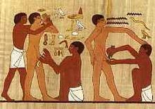 Ancient Egyptian circumcision.  A long tradition says nothing about whether something is morally okay.  But at least this seems to be an adult under the knife.