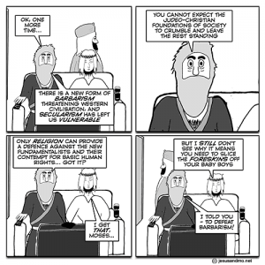 Jesus and Mo, Slice.   Author has a feel for irony.